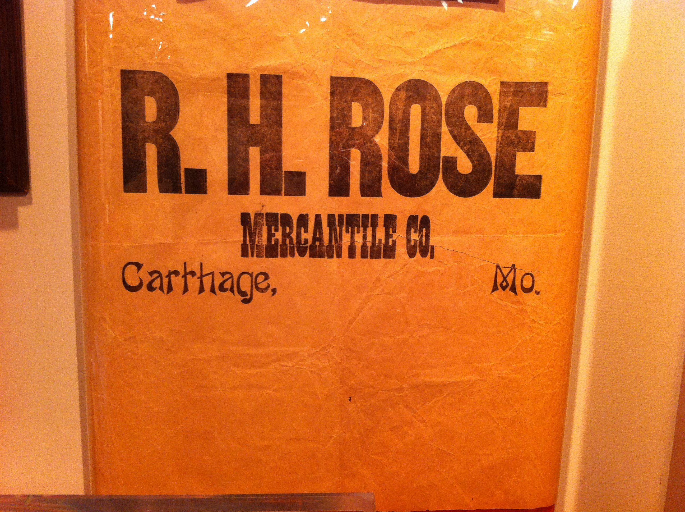 R. H. Rose Mercantile Company packing tissue from the turn-of-the-twentieth-century as displayed in 175th Anniversary of Carthage Exhibit in 2017.