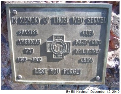 """Inscription of """"The Hiker"""" monument In Memory of Those Who Served Spanish American War 1898-1902 Cuba – Porto Rico – Philippines – China Lest You Forget"""