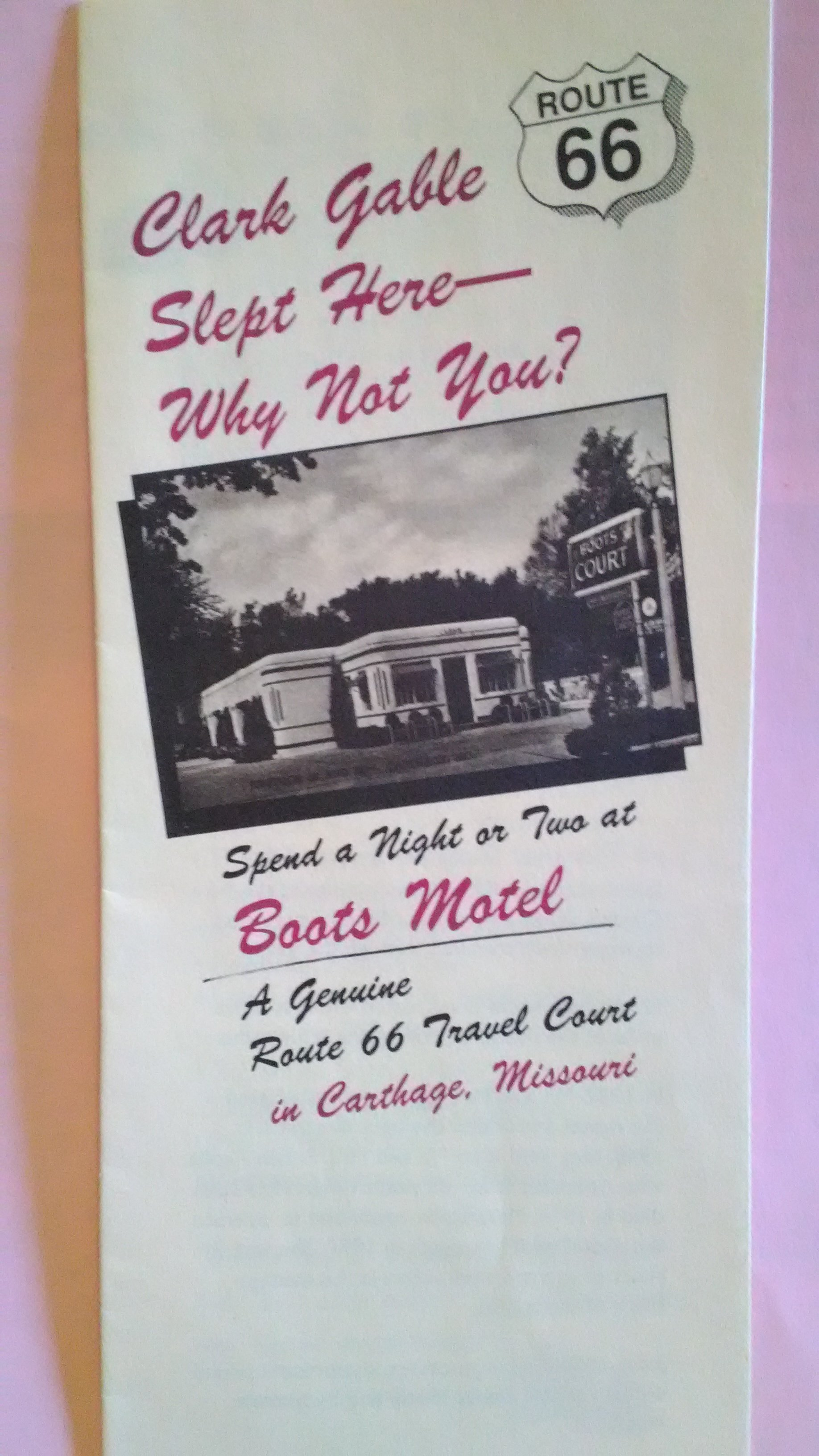 "Brochure for Boots Motel produced by the Fergusons in the 1990s. Features c.1940 image of motel. Displayed during 2017's exhibit ""175th Anniversary of Carthage"" at Powers Museum."