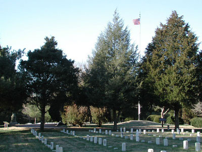 Overview of the rectangular cemetery.