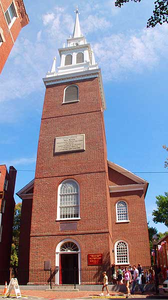 The Old North Church Exterior highlights the massive steeple and windows where the two lanterns were hung that April night.