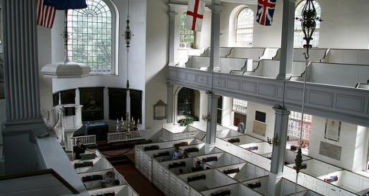 Inside the Old North Church where talks of liberty and loyalty occurred in the weeks leading up to the start of the revolution.