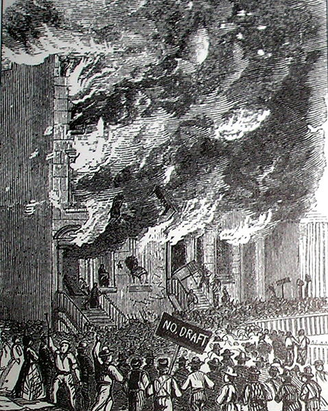 This illustration shows a building on Lexington Avenue being consumed by flames.