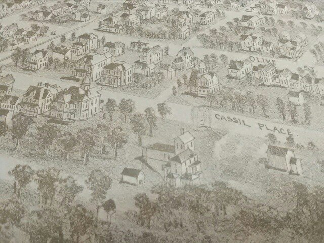 Cassil Place detail, 1891 Carthage print (reproduction) held in Powers Museum collection. Original print was displayed in 2017 exhibit that honored the 175th Anniversary of Carthage, Missouri. This area is now 700 and 800 blocks of West Central Ave.