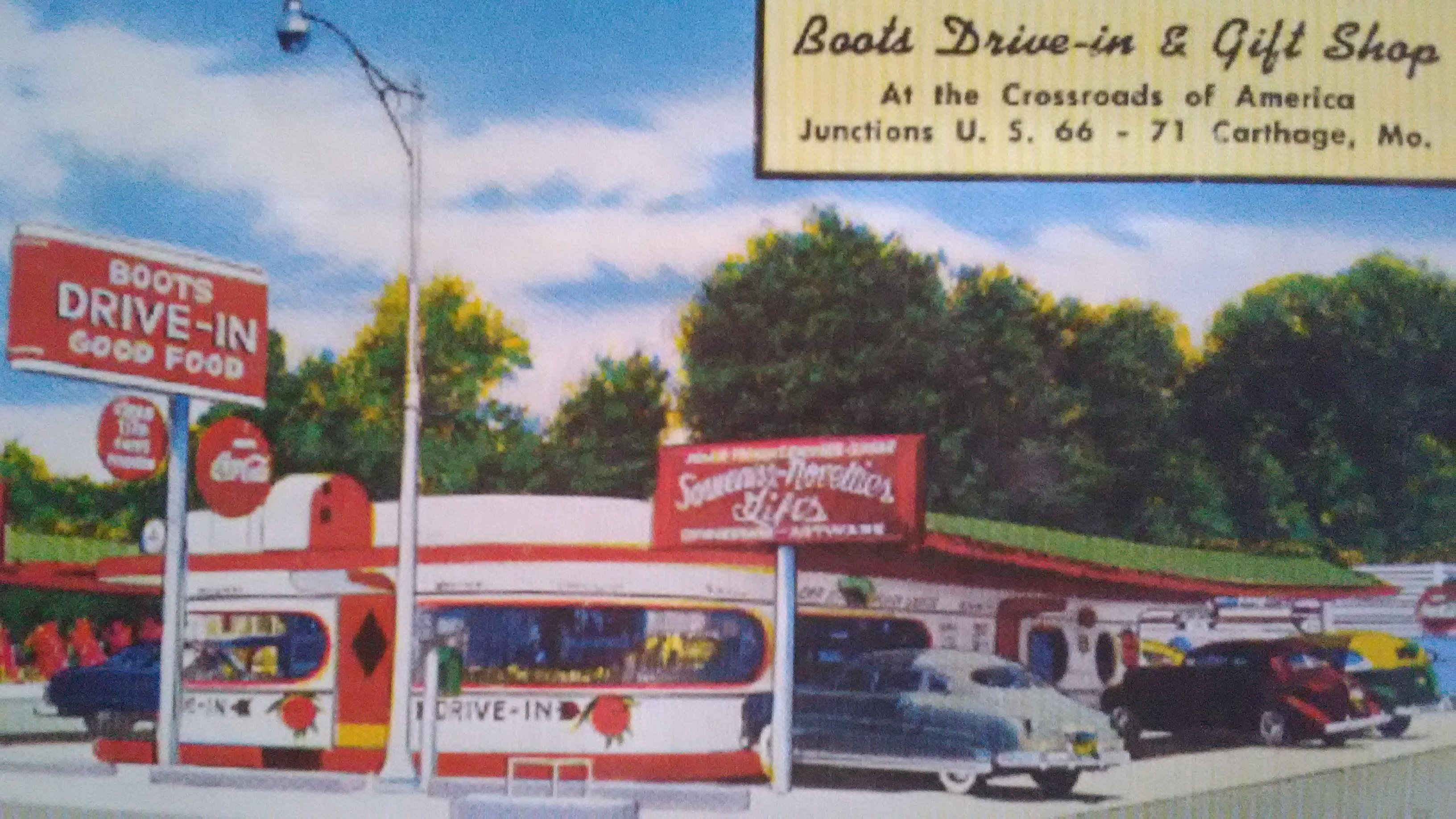 "Postcard of Boots Drive-In shortly after opening. Boots also enticed patrons with ""Souvenirs, Novelties and Gifts"" as advertised on one of its outdoor signs. Postcard was displayed in the 175th Anniversary of Carthage exhibit in 2017."