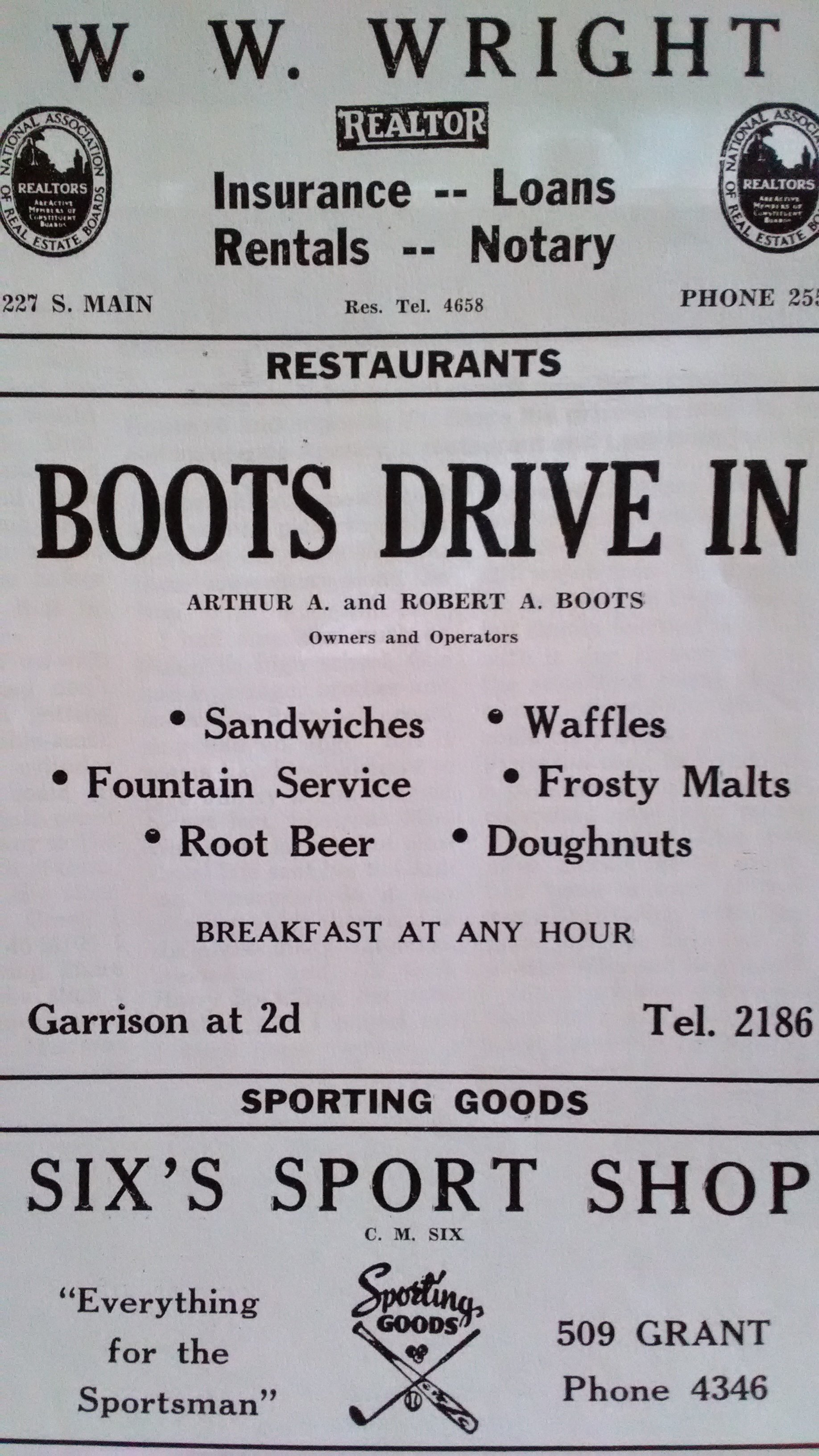"1947 Carthage City Directory advertisement for Boots Drive-In. According to early signage on the property seen in various postcard views, donuts sold for 10 cents, toasted ham sandwiches were 20 cents and chili - ""none better"" - sold for 20 cents."