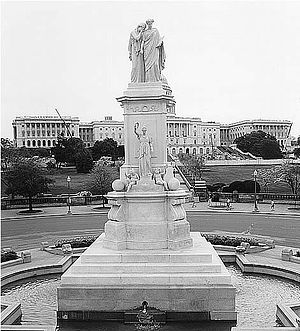 The Peace Monument stands with the Capital Building as a backdrop. Picture by an unknown employee of the the federal government and all images are located in public domain.