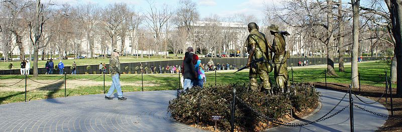The Three Soldiers with the Vietnam Memorial Wall