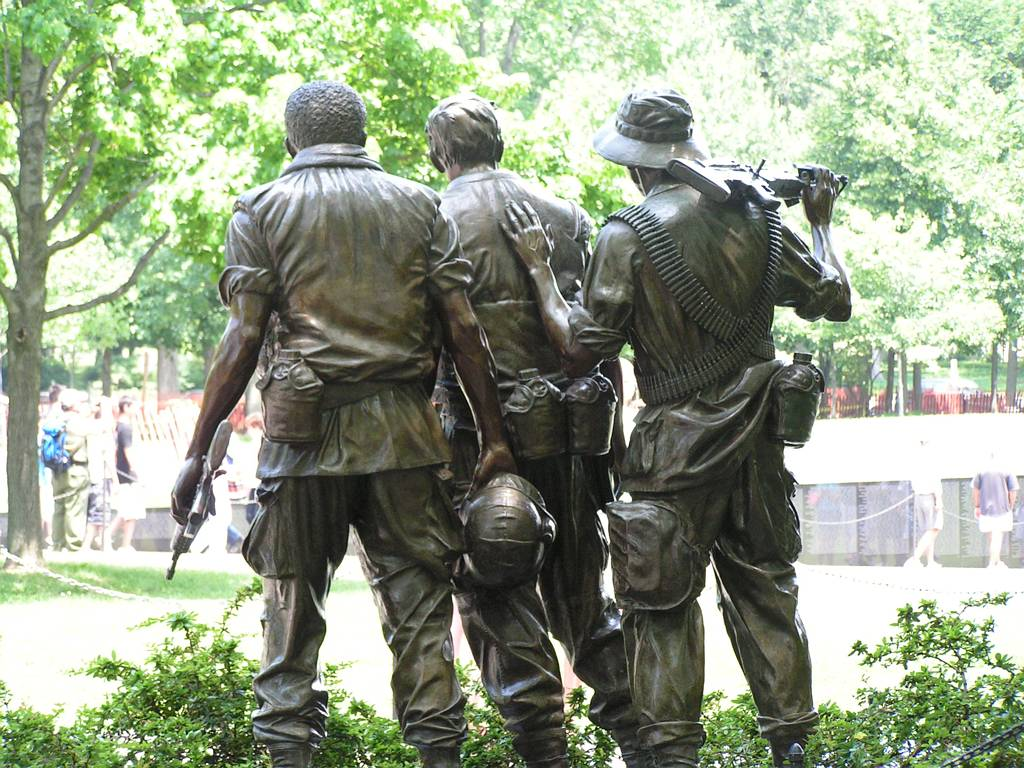Rear view of The Three Soldiers