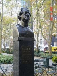 Goethe statue in Bryant Park