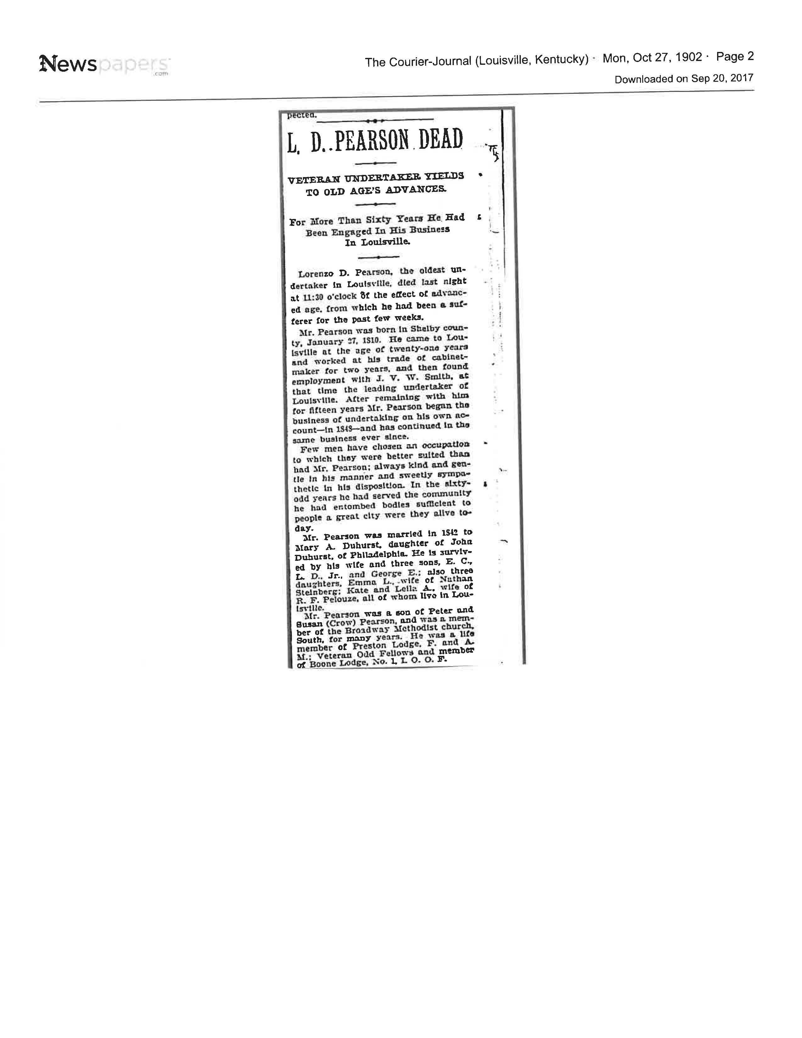 L.D. Pearson obituary