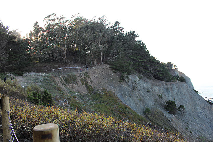 "Coastal Trail traverses the same area where the ""Cliff Line"" used to transport passengers; some of the original route has been washed out due to landslides."