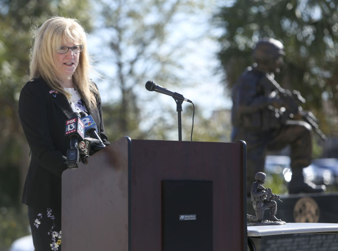 Helton's mother, Jiffy Sarver speaking at the dedication ceremony