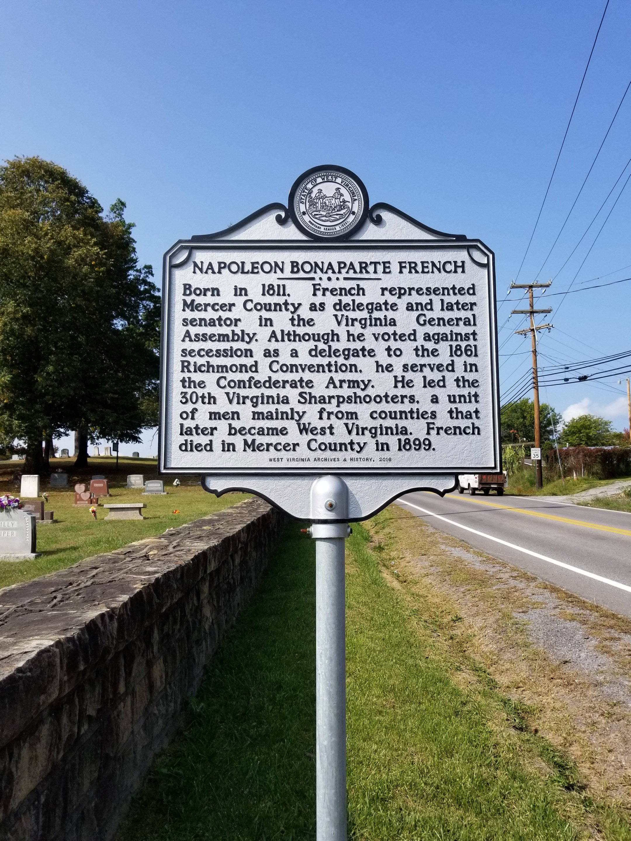 The historical marker located in Princeton, WV