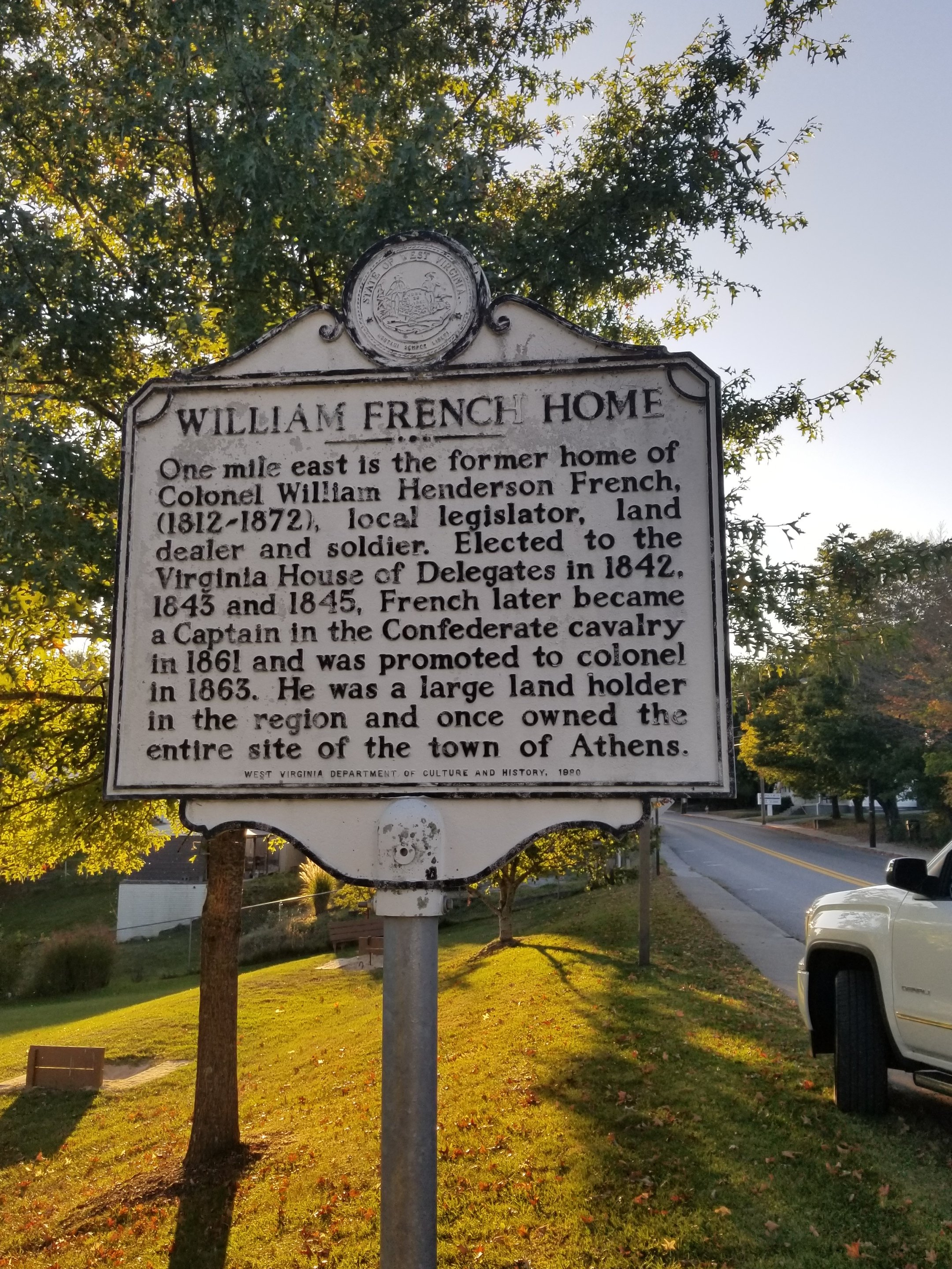 The historical marker of William Henderson French House located in Athens, WV