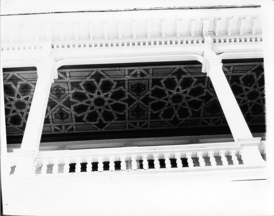 View of the Patterning of the Ceiling of the Porch of the Charles E. Tilton Mansion by Allan and Celia Willis in January of 1981