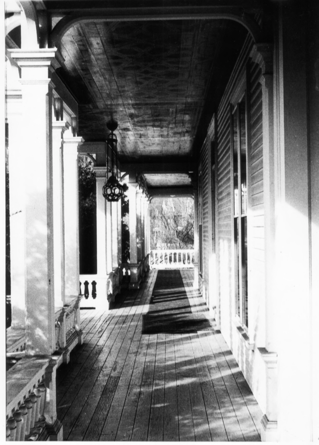 View of the Porch of the Charles E. Tilton Mansion by Allan and Celia Willis in January of 1981