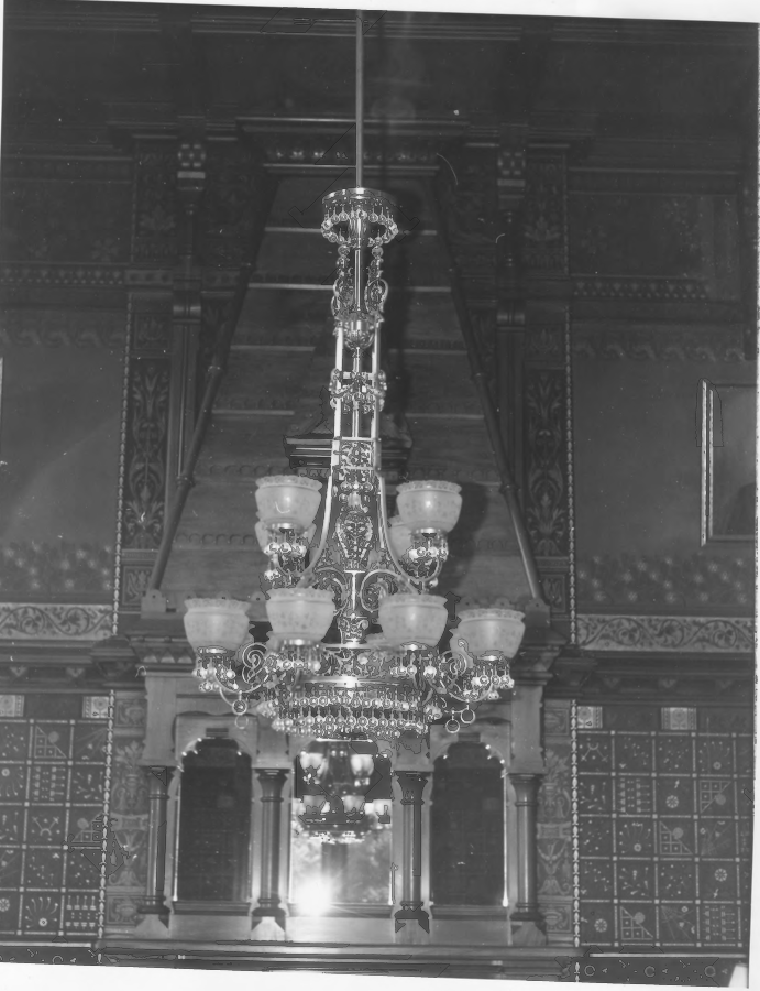 Drawing Room Chandelier and Fireplace of the Charles E. Tilton Mansion by Allan and Celia Willis in January of 1981