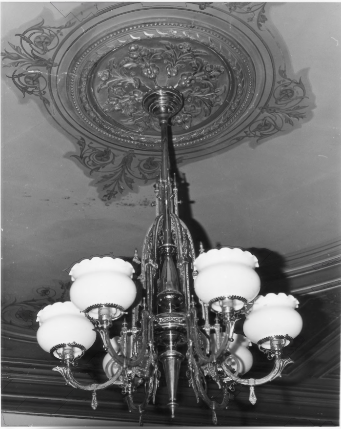 Chandleier in the Charles E. Tilton Mansion by Allan and Celia Willis in January of 1981