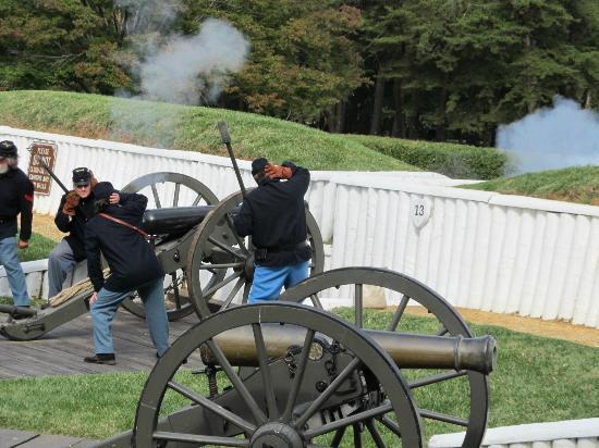 A demonstration of artillery firing at Ford Ward Museum