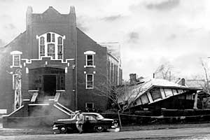 On Dec 25, 1956, Fred Shuttlesworth and his family survived an explosion when white supremacists attempted to destroy the parsonage.