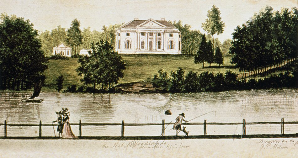 A c.1792 watercolor of the Woodlands by James Peller Malcom, showing the mansion as seen from the bridge at Grey's Ferry on the Schuylkill River.
