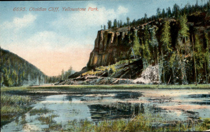 An early 20th century postcard featuring Obsidian Cliff.