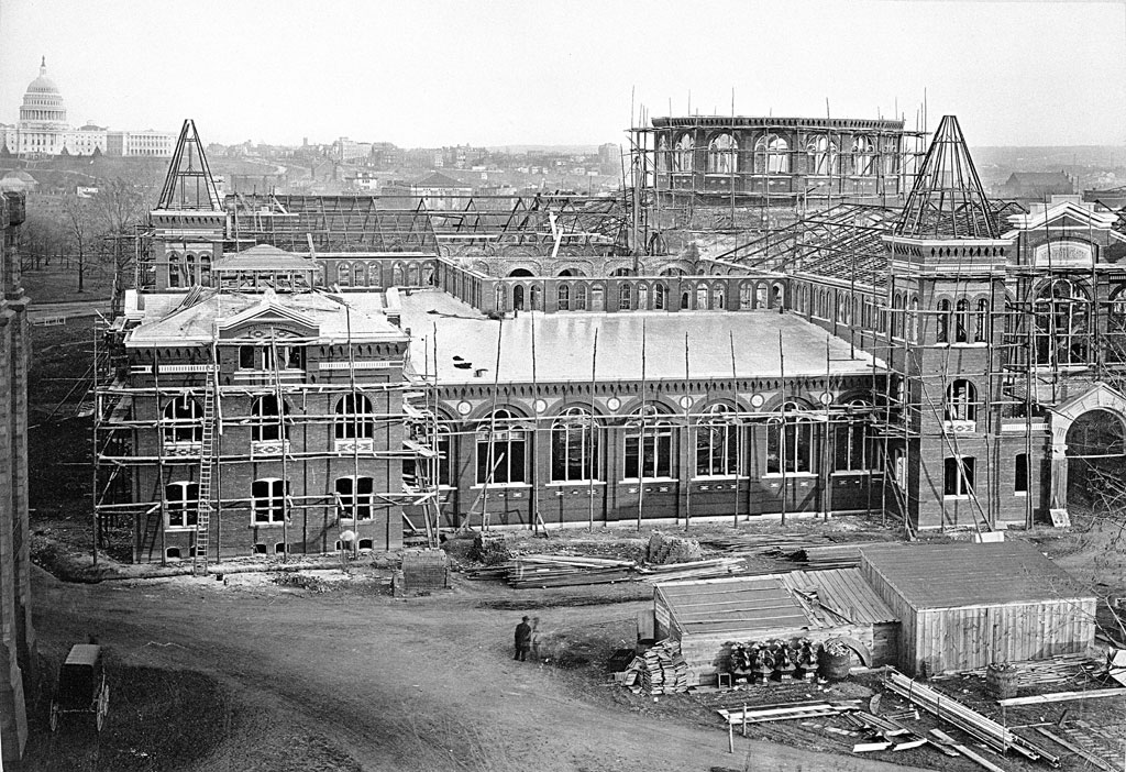The Arts and Industries Building, originally the National Museum Building, under construction in 1879. Photo courtesy of the Smithsonian Institution Archives.