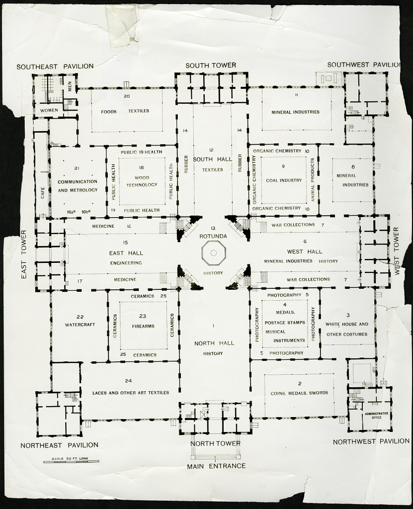Floorplan of the National Museum in 1925. Courtesy of the Smithsonian Institution Archives.