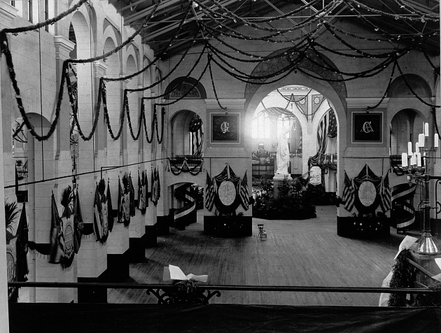 The West Hall of the National Museum decorated for the inaugural ball of President James Garfield in 1881. Photo courtesy of the Smithsonian Institution Archives.