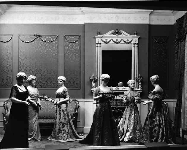 The First Ladies dresses exhibit was first on display at the Arts and Industries Building. Photo circa 1955, courtesy of the Smithsonian Institution Archives.