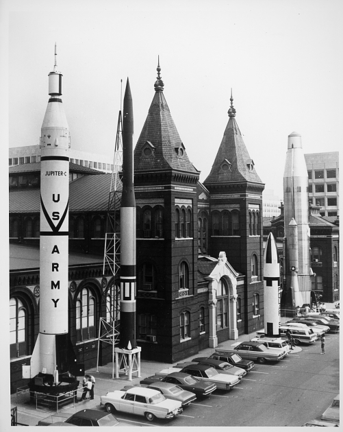 """Rocket Row"" displayed historically-significant rockets before the National Air and Space Museum's building opened. Photo circa 1967, courtesy of the Smithsonian Institution Archives."