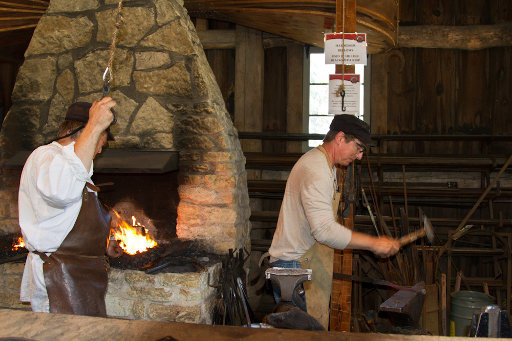 Our volunteer blacksmiths hard at work