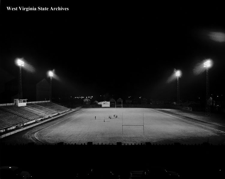 Test of the field's new night lighting in 1951. The community campaigned doggedly for the upgrade, as S, Charleston High was one of the last schools in the area that could not host games after dark. The Korean War caused the project delays.