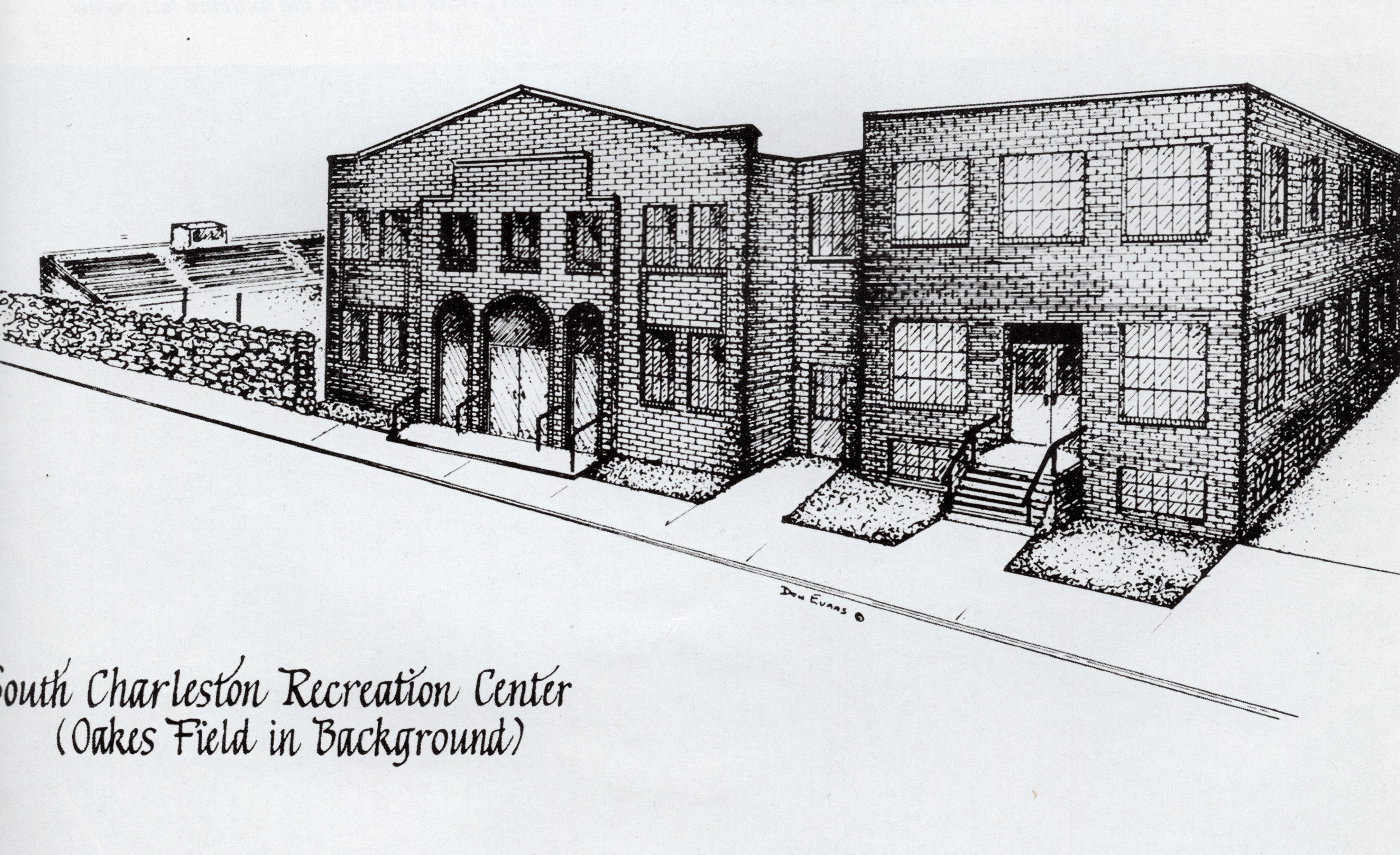 Pen-and-ink rendering of the Oakes Field Gymnasium and adjacent South Charleston Recreation Center. The Rec Center was sold when the new Community Center was built. The Rec Center was first converted into apartments, then later torn down.