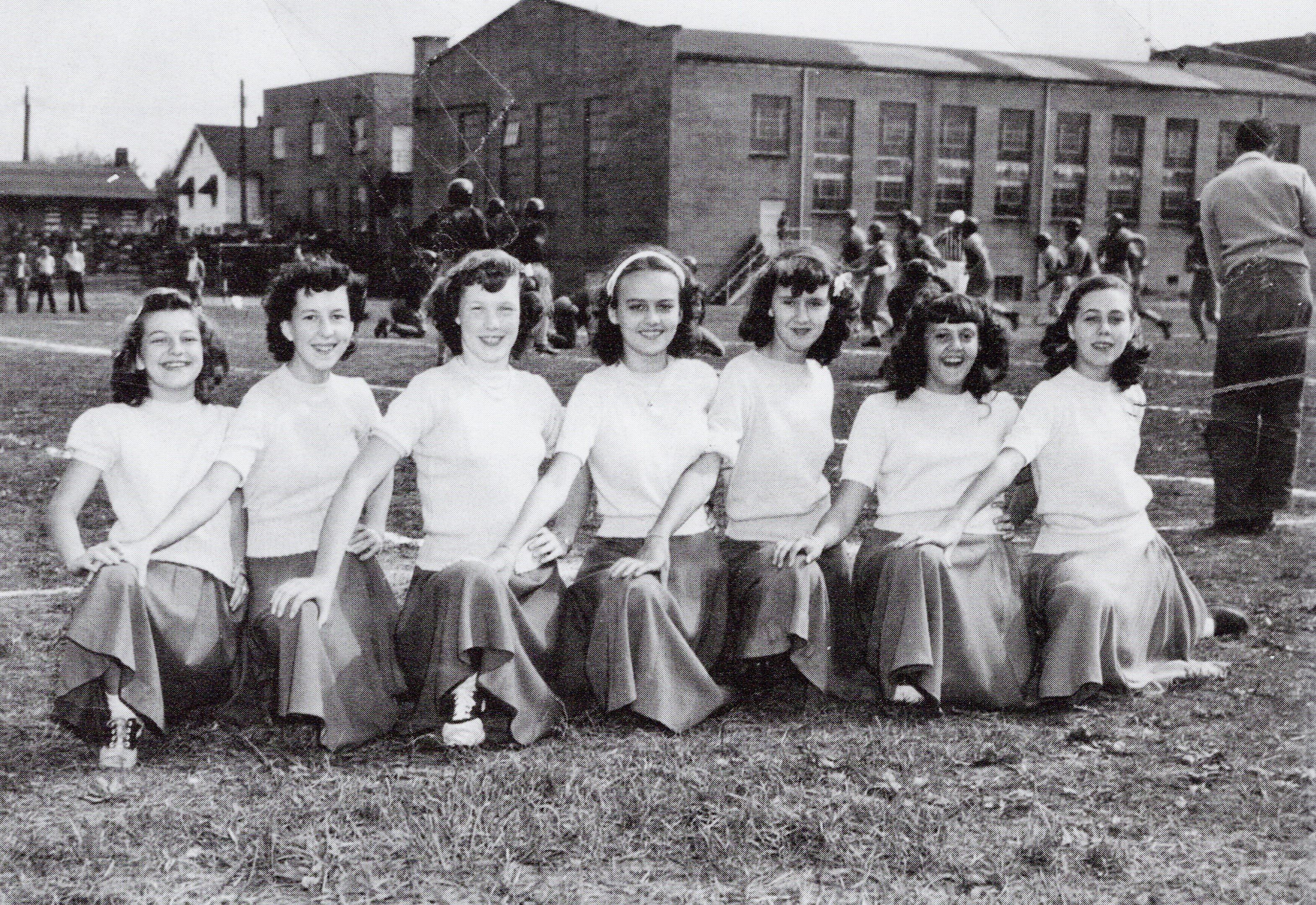 South Charleston Junior High School cheerleaders on the field in the 1940s, soon after the field was completed. Courtesy of South Charleston Museum.