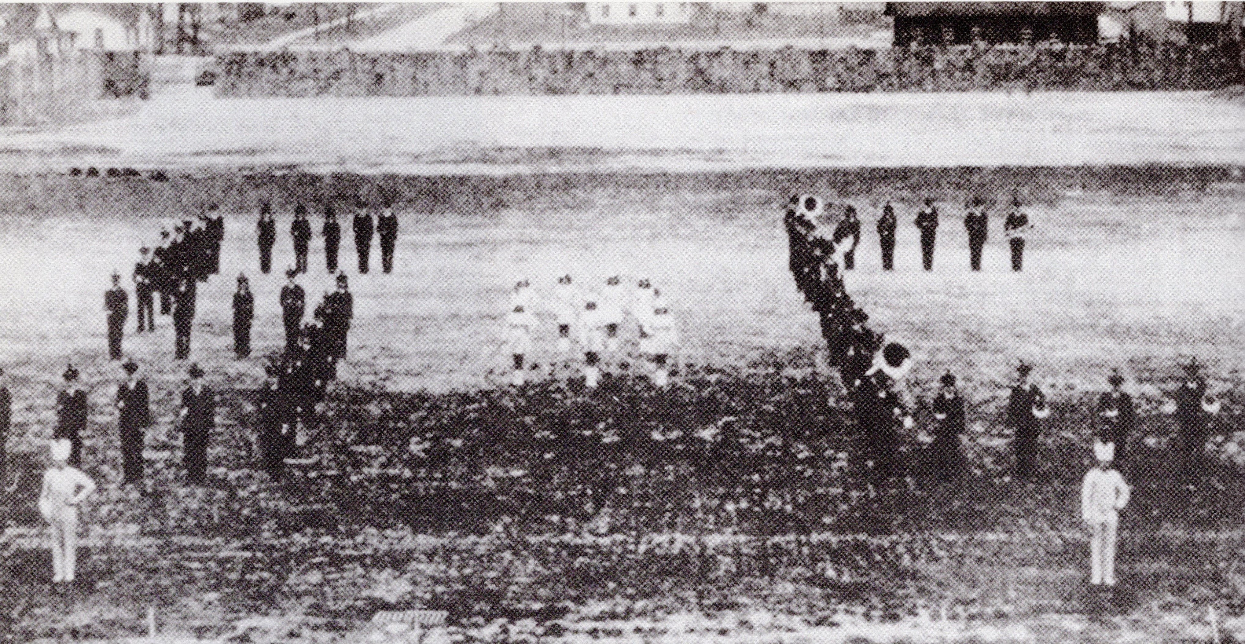 The South Charleston High School Band at Oakes Field in 1942. The field was only a year old, and the previous year SCHS's football team was undefeated for the first time. Courtesy of South Charleston Museum.