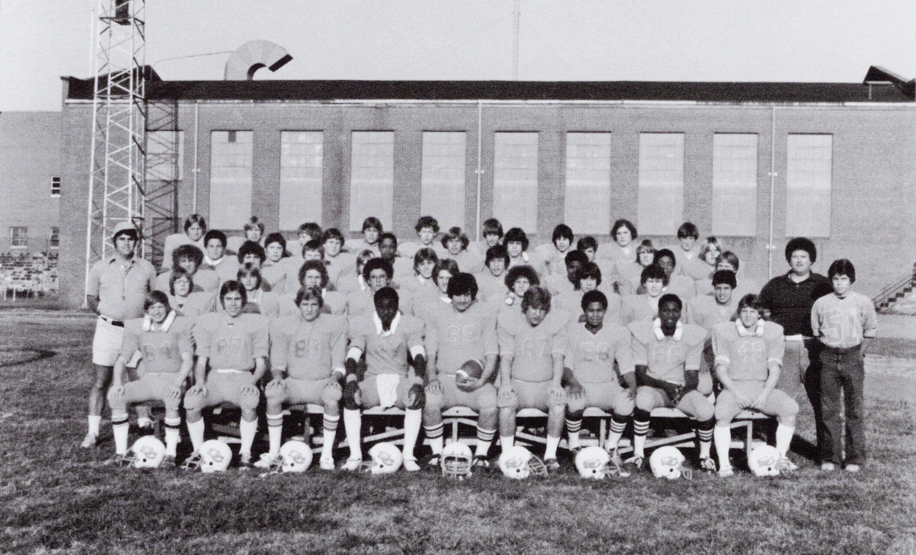 The South Charleston Junior High Golden Cubs football team. Note the lighting tower in the background--six such towers were Oakes Field's first major upgrade. Courtesy of South Charleston Museum.