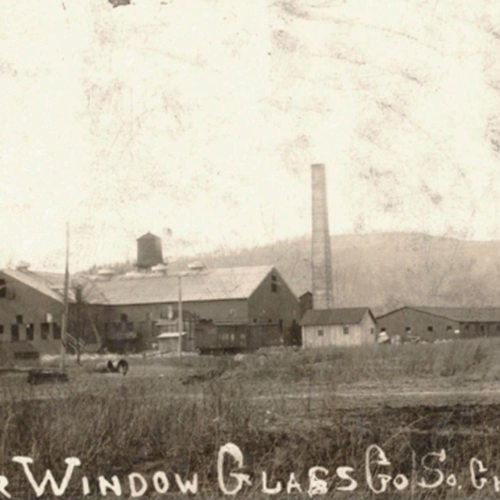 Photos of the Banner Glass Company depict the second factory--the first having burned down after only a day of operation in 1907.
