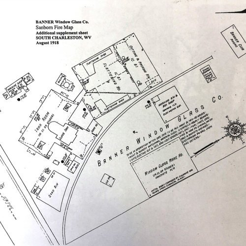 A map of the Banner Glass site. The factory was located on the site of the current Rite Aid, with its entrance in nearly the same spot. Another Belgian glass company, Dunkirk, was located at the present site of the Dow Chemical headquarters.