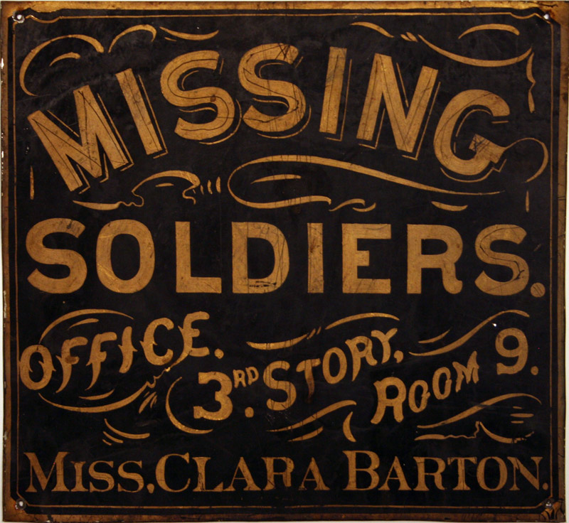 The original sign of Clara Barton Missing Soldiers Office, one of over a thousand artifacts discovered when the third floor room was reopened in 1996.