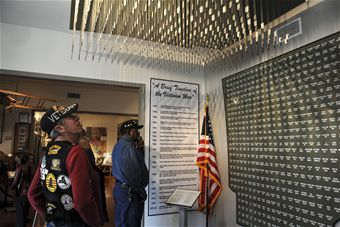 A display of dogtags from soldiers, one of many exhibits at the museum