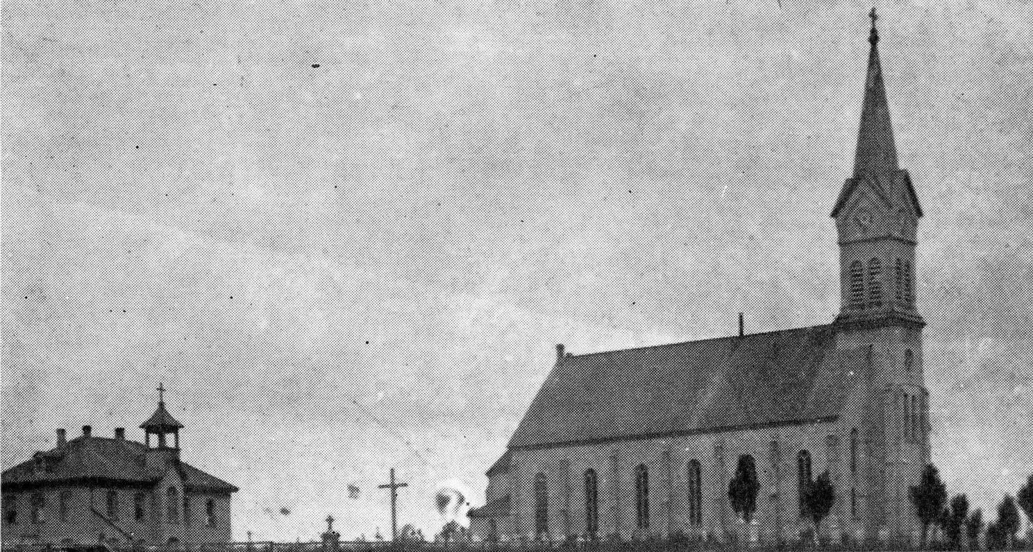 St. Mary of the Visitation church and rectory prior to the 1907 fire.