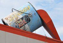 The iconic paint can, now in the possession of the City of South Charleston, stood atop Evans Lumber from 1963 to 2015.