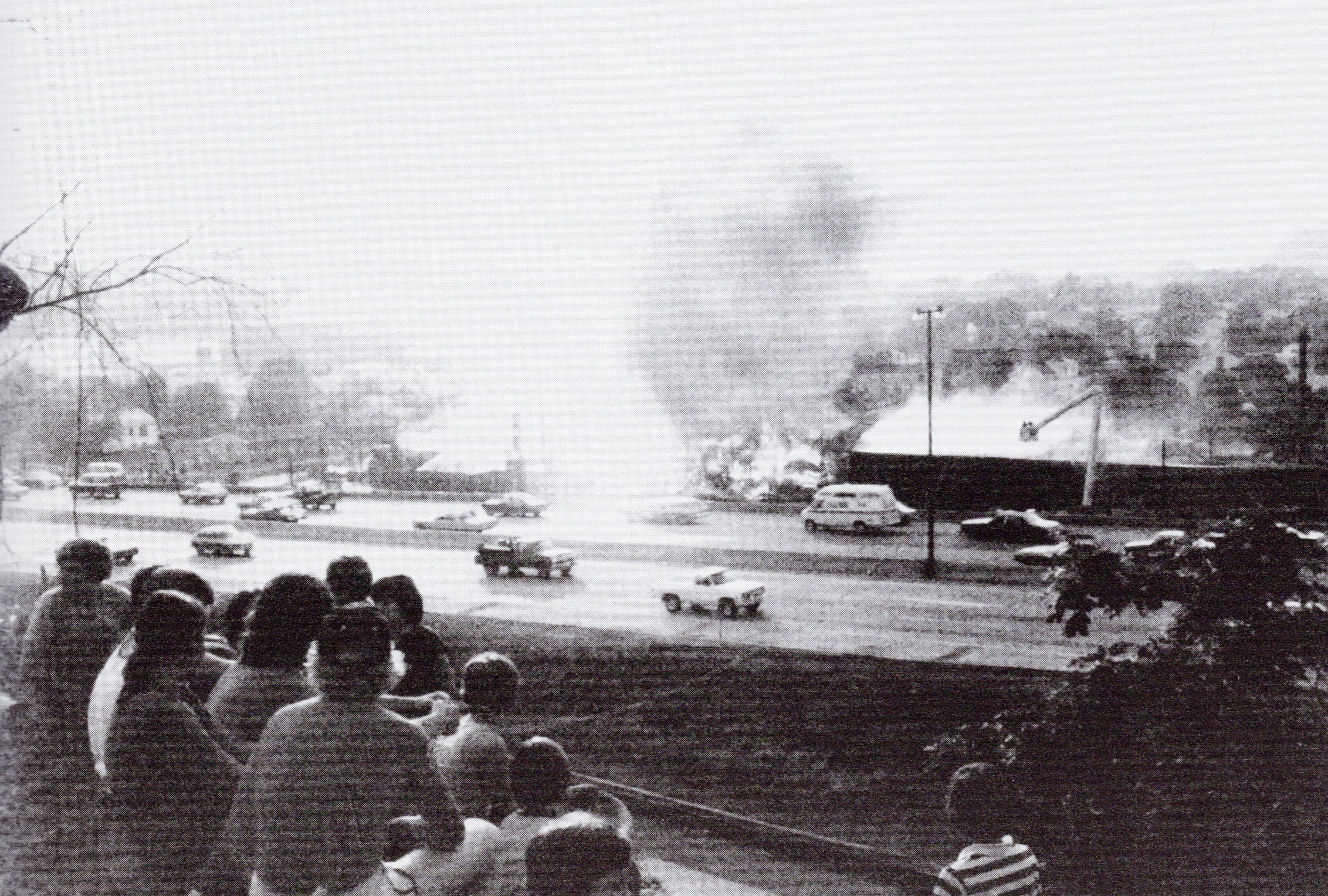 The 3-day Evans Lumber fire in May 1977, as viewed from across the  I-64 Freeway. The freeway had only been completed the year before.
