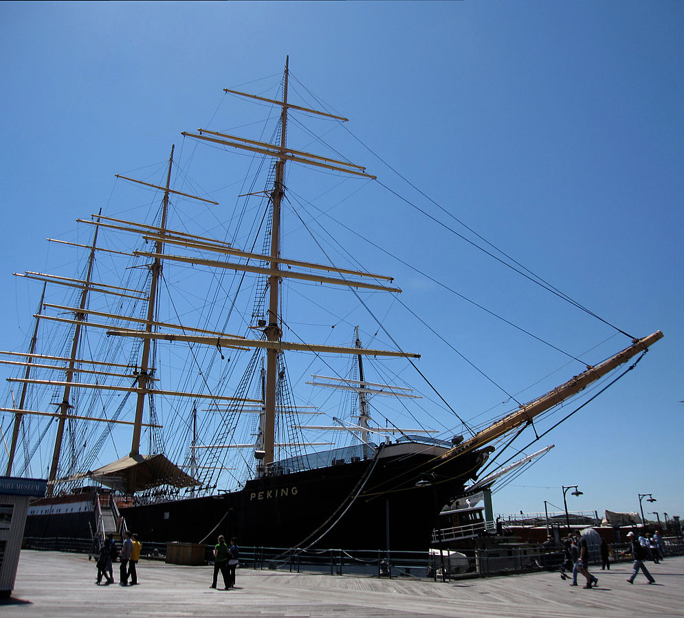 The Peking is a four-masted ship constructed in 1911, one of many ships on display at the South Street Seaport Museum