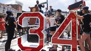 The dedication of David Ortiz's retired numbers monument on David Ortiz Drive