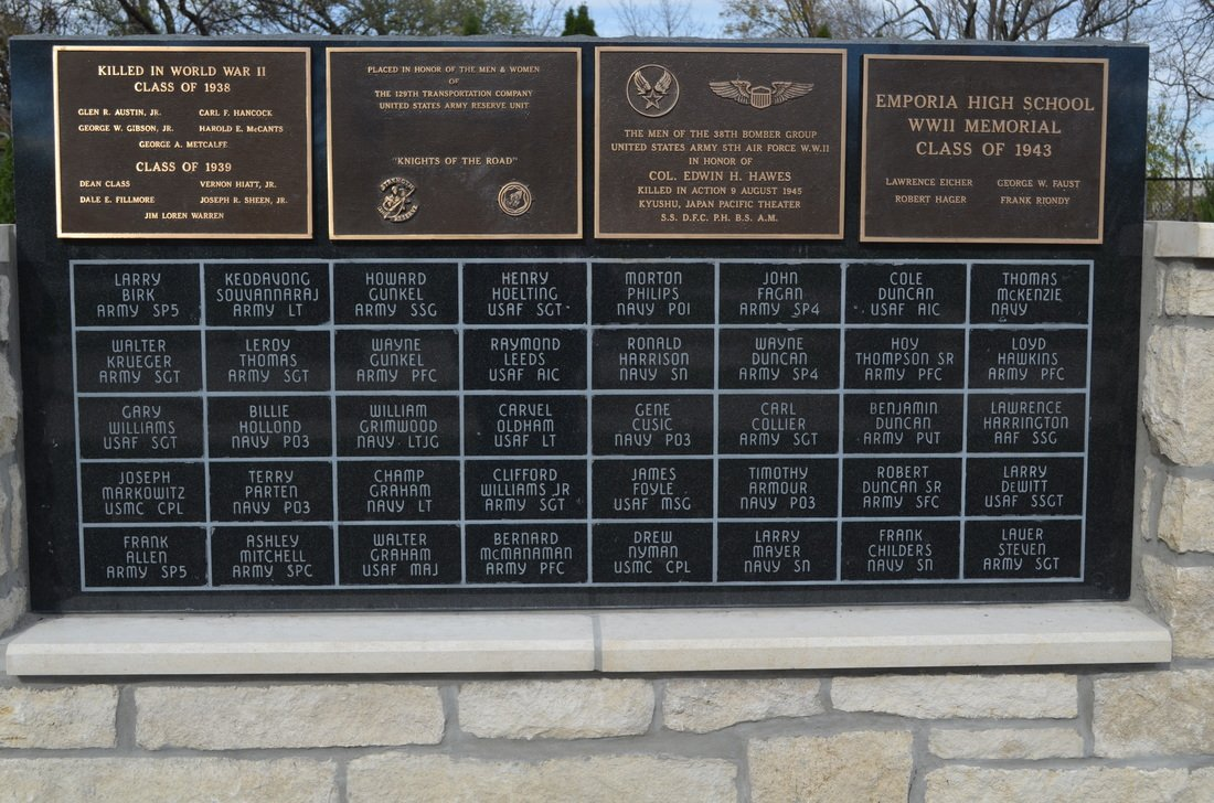"This is the new addition to the Veteran's Memorial which displays names of veterans from Emporia (""All"" 1)."