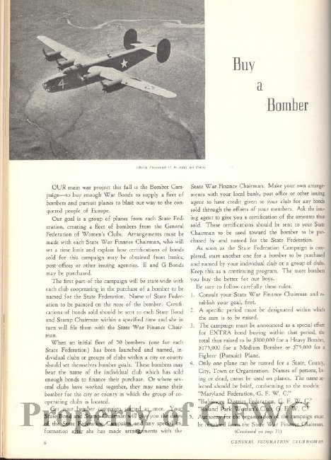 "An American B-24 bomber is used to illustrate the ""Buy A Bomber"" campaign in a GFWC publication advertising war bonds. Courtesy of the GFWC."