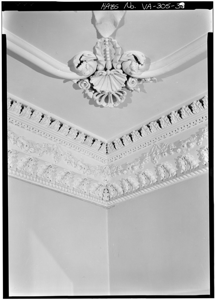 Intricate molding work in the dining room on Kenmore's first floor